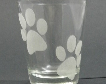 Paw Print Etched Shot Glass