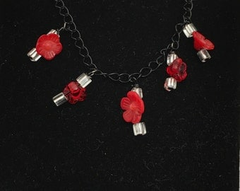 Beaded Necklace, Floral Design, Red & Clear Beads, Black Chain, Made in the USA, Item No. B746