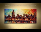 """Chicago Oil Abstract Painting - 48"""" x 24""""  