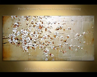 Oil painting on canvas Cherry Blooms Palette Knife from Paula Nizamas hand painted blooming flowers art