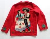 Vintage Red Felt Mexico Souvenir Jacket Blazer -Cactus Horse Agave Mexican  fitted retro jacket-statement blazer XXS 30 chest-FREE UK Post