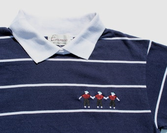 Vintage Nautical Polo Shirt - Sailors Embroidery -white contrast collar - Navy Stripe Striped  Blue - collared top-sailing- medium