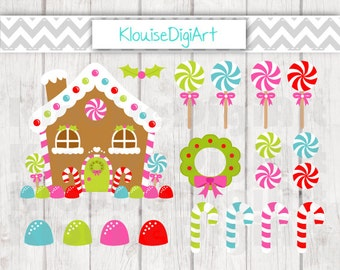 Gingerbread House, Candy Canes, Gumdrops and Wreath Christmas Digital Clipart Graphics for Personal and Small Commercial Use (C022)