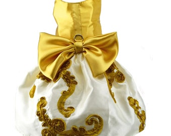 Gold and White Dog Harness Dress
