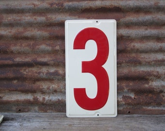 Huge Number 3 Sign Number Three Sign Vintage Metal Number Sign 10x19 Inches Price Sign Gas Station Number White Red Distressed Aged Patina