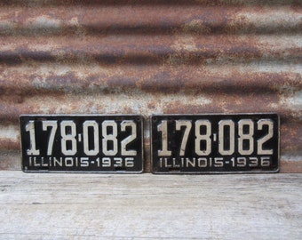 Vintage License Plate Illinois 1936 Matched set of 2 Black & White 1930s Era Car Truck Automobile Rusted and Naturally Distressed Man Cave