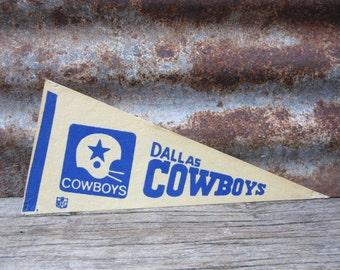 Vintage Dallas Cowboys Football Team 1970s Era NFL 11 Inch Mini Felt Pennant Banner Flag vtg Vintage Christmas Gift Stocking Stuffer