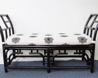 Bamboo & Rattan Chinese Chippendale Bench