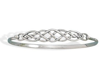 Sterling Silver Irish CELTIC Style Bangle Bracelet