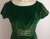 RESERVED FOR RACHEL Vintage 1950s 60s Misses' Short Sleeved Green Velvet Dress Small 2-4
