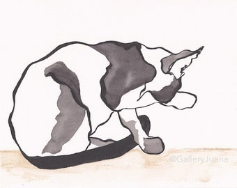 original cat watercolor and sumi ink on paper, Cat on a Sill, 8 x 10