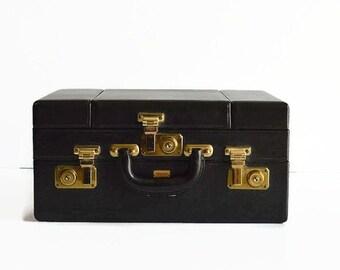 vintage black train makeup case with key fitted dresser set