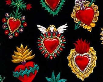 A little less than 1/2 yard Alexander Henry Corazones Hearts 100% Cotton Fabric by yard