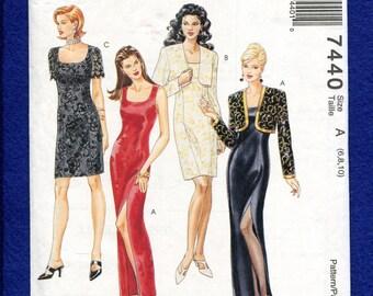 McCalls 7440 Sleek Fitted Evening Dresses & Bolero Size 6
