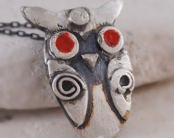 Sterling Silver OWL NECKLACE  w Red Eye, Owl Bird with Oxidized Silver Chain, Designer Artisan Jewelry