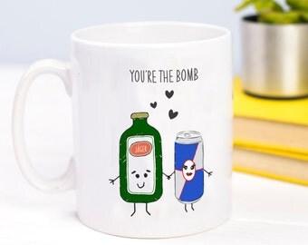 Jagermeister Mug, Valentines Guft, Funny Mug, Jager, Mug, Couple Gift, Love, Illustration, Boyfriend Gift, Girlfriend Gift, Birthday Gift