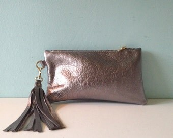 Silver leather clutch bag, zipped purse, make up bag, pencil case