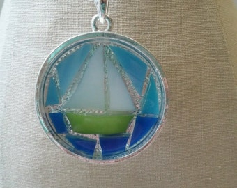 Green Sail Boat Necklace