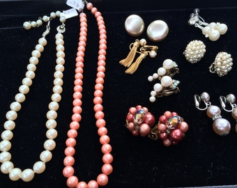 Destash vintage pearl earrings and necklaces, wedding earrings