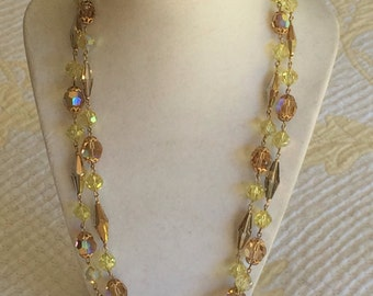 Vintage crystal double strand necklace in gold tones