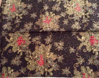 Christmas Cotton Fabric, Holly Berries on Black Glitter