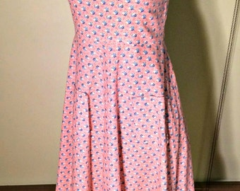 Vintage 1970s 1940s Style Pink Floral Cotton Sun Dress Rockabilly Boho Small