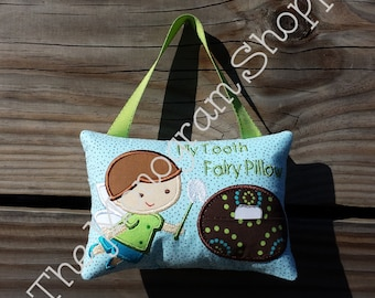 Hanging Pocketed Tooth Fairy Pillow Personalized for Boys and Girls - Free Monogramming