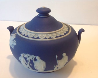Wedgwood Jasperware Dark Blue Sugar Bowl, Urn Style Handles