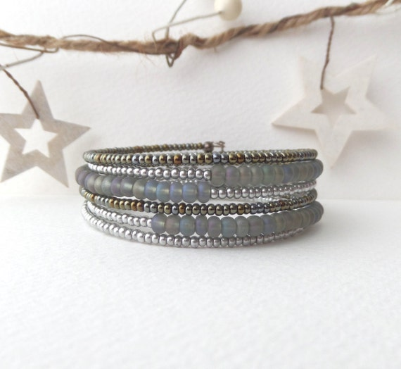 Grey Beaded Flexi Bangle - Silver Metallic Olive, Grey Bracelet - Contemporary Memory Wire Bracelet