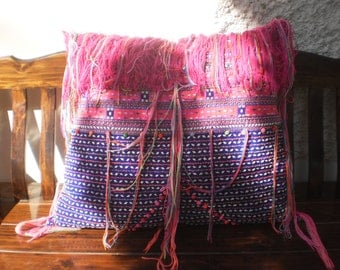 Large Beautiful Yummy Cushion Cover Made With Vintage Karen Hill Tribe Shirt