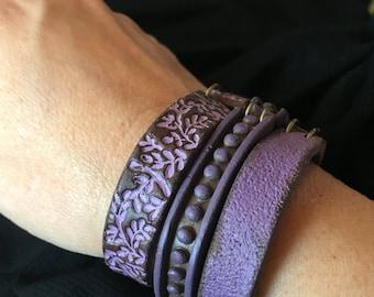 Purple Wrap Bracelet, Jewelry for women of 40, 50, 60 years old, Fall Jewlery, Stackable Cuff