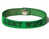 Military Wife, Laser Engraved Bracelet, Leather Military Bracelet, Military Gifts, Army Wife, Navy Wife, Air Force Wife, Marine Wife