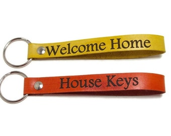 Personalized Key Fob, Leather Key Fob, Leather Key Chain, Welcome Home Key Fob, House Keys Keychain, Gifts Under 10, Realtor Gifts