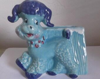 Vintage Poodle Planter  Desk Caddie Blue Ceramic Planter or Desk Caddie By Opco