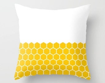 36 colours, Hexagon Honeycomb Half Pattern Decorative Pillow, Crocus Yellow, Geometric pillow, Faux Down Insert, Indoor or Outdoor cover