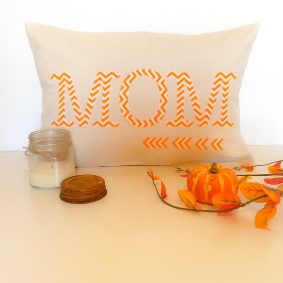 Mothers Day Gift for Women Chevron Fabric Pillow Cover Typography Pillow Orange Pillow