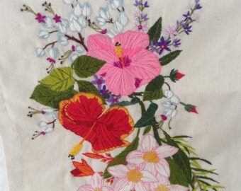 Vintage Handmade Needlework - National Paragon Corp 1978 - Floral Tapestry - Cottage Chic - hand embroidered panel