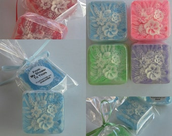 Bridal Shower and Wedding Favors, 12 soaps, favor bags, satin ribbon, Glycerin Soap, Custom colors, floral, spring wedding