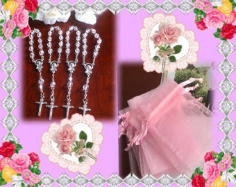 30 wedding favors  or baptism favors 30 pcs Organza bags, pink organza bag ,30 white  mini  rosaries  favor and 30 white tags ,