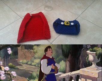 Crochet Snow White Prince Outfit (Crown, Cape, Diaper Cover)