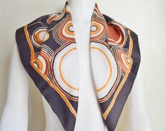 Vintage Geometric Polyester Simone Designer Scarf Black Brown Gold White Cirlces 1970's Fashion by Simone