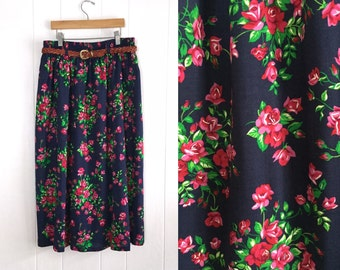 Vintage Blue Floral Print Womens Skirt