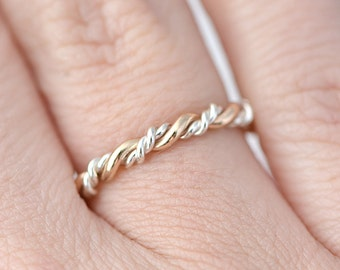 Gold and Silver Ring, Stackable Twist Ring, Stacking Ring, Twisted Ring, Braided Ring, Thumb Ring, Valentines Day Gift