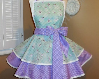 Mint & Purple Floral Print Woman's Retro Apron With Tiered Skirt And Bib...Ready To Ship