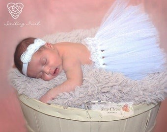 Newborn tulle Tutu, White tutu, Photo shoot, Free Shipping