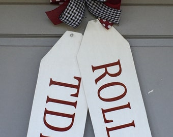 Wood Door Tags, Roll Tide Door Hanger, Roll Tide Door Tags,  Alabama Football, College Football, Houndstooth Ribbon, Alabama Door Hanger