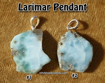 Larimar Natural Crystal Pendant