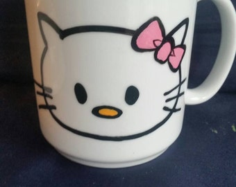 Hello Kitty Hand Painted coffee mug