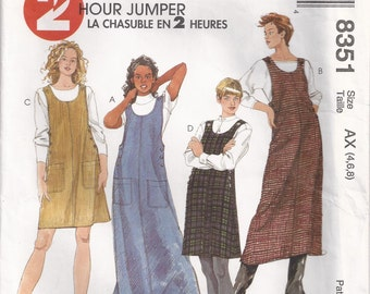 Pullover Loose Fitting Slightly A Line Jumper Buttoned Side And Shoulder Openings Size 4 6 8 Dress Sewing Pattern 1996 McCall's 8351