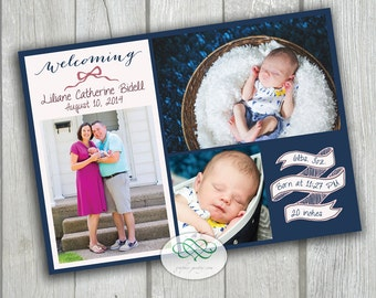 Navy & Pink New Baby Birth Annoucement - Custom Photos and Text 5 x7 Printable PDF